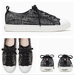 Kate Spade Avery tweed Sneakers Black/ White NWB